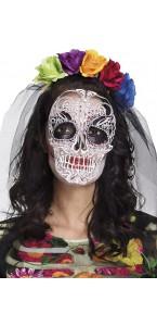 Tiare La Calaca avec voile et fleurs colorées Halloween
