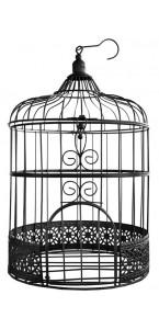 Tire-lire Cage noire métal 20 x 20 x 31 cm