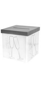 Tirelire Champagne blanche 20 x 20 x 20 cm