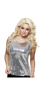 Top sequins argent Taille M