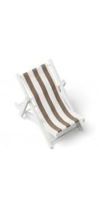 Transat rayé taupe bois et tissu 9 x 16 cm