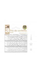 Trio de Confettis blanc albâtre en sachet- Ronds/Etoiles/Coupes