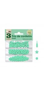 Trio de Confettis vert excellence en sachet- Ronds/Etoiles/Coupes