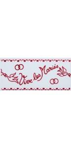 Tulle blanc Vive les Mariés floqué bordeaux 10 cm x 40 m