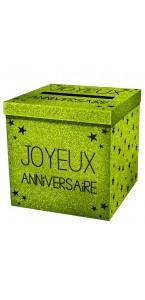 Urne  Joyeux Anniversaire vert excellence pailleté