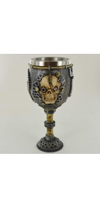 Verre à pied crâne Steampunk tuyau résine Halloween 8,5 x 8,5 x 19,5 cm