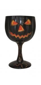 Verre citrouille orange et noir Halloween 18 cm
