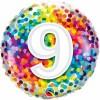 Ballon 9 ans pois multicolores 45 cm