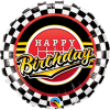Ballon Happy Birthday motif rallye 45 cm