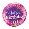 Ballon Happy Birthday rose serpentins chapeau 45 cm