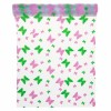 Chemin de table transparent papillons roses et verts28 cm x 5 m