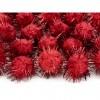 Lot de 20 boules pompon Oursin rouge 2 cm