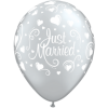 Lot de 6 ballons Just Married Cœurs Argent 27,5 cm