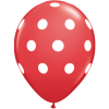 Lot de 6 ballons Polka Dots en latex rouge 27,5 cm