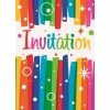 Lot de 6 cartes invitation Happy  birthday Streamers avec enveloppe