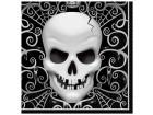 Lot de 16 Serviettes Tête de mort  Halloween en ouate 33x33 cm