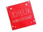 Lot de 24 serviettes jetables Joyeux Anniversaire rouge passion 3 plis