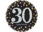 Lot de 8 assiettes jetables Sparkling Celebration 30 ans en carton D 23 cm