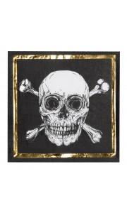 Lot de 12 serviettes en papier anniversaire pirate 33 x 33 cm