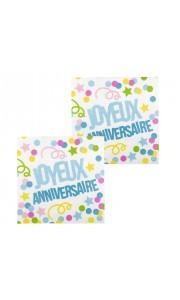 Lot de 12 serviettes en papier joyeux anniversaire multicolore