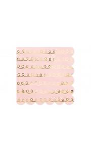 Lot de 20 serviettes en papier rose poudré motifs or 33 x 33 cm