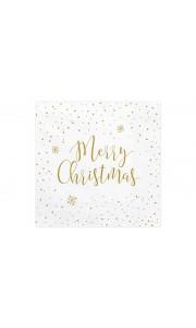 Lot de 20 Serviettes Merry Christmas or en papier