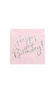 Lot de 20 serviettes papier rose Happy Birthday iridescent 33 x 33 cm