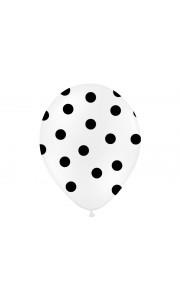 Lot de 6 ballons latex blanc pois noirs 27/ 30 cm