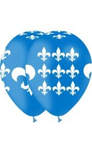Lot de 6 ballons transparents fleurs bleu ciel 27/ 30 cm