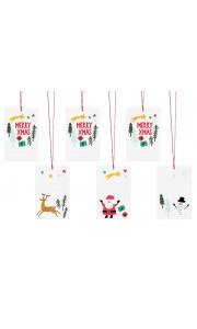 Lot de 6 étiquettes Merry Christmas assortis