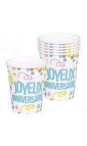 Lot de 6 gobelets joyeux anniversaire multicolore