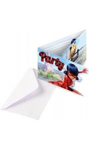 Lot de 8 cartes invitation avec enveloppe Miraculous
