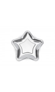 Lot de 6 assiettes jetables métallisé argent forme étoile 18 cm