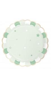 Lot de 8 assiettes vert pastel festonnées 23 cm