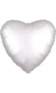 Ballon coeur satin luxe blanc 43 cm