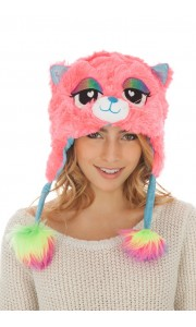 Bonnet Chat Rose en peluche