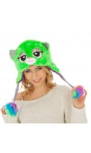 Bonnet Chat Vert en peluche