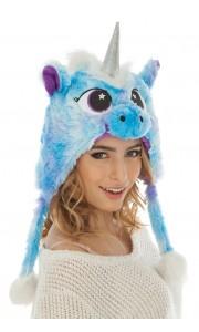 Bonnet Licorne bleue en peluche