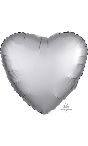Ballon coeur satin luxe argent 43 cm