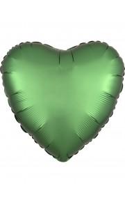 Ballon coeur satin luxe vert jade 43 cm