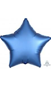 Ballon étoile satin luxe bleu azur 43 cm