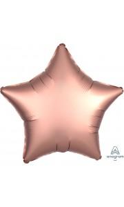 Ballon étoile satin luxe vieux rose 43 cm