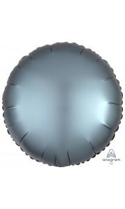 Ballon rond satin luxe bleu acier 43 cm