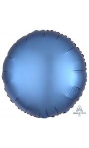 Ballon rond satin luxe bleu azur 43 cm