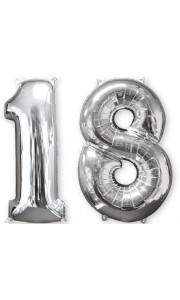 Ballons forme chiffre 18 ans argent