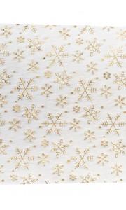 Chemin de table fourrure blanche flocons dorés 28 cm x 5 m