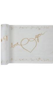 Chemin de table Just Married or sur coton blanc 30 cm x 3 m