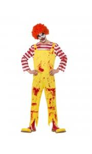 Combinaison Clown tueur homme Halloween jaune et rouge