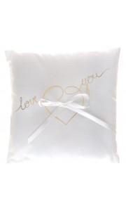 Coussin pour alliance Just Married Lettres Or 18 x 18 cm
