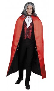 Cape de vampire luxe noir/rouge reversible Halloween adulte152 cm